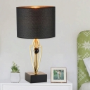 Contemporary 1 Bulb Task Lighting Black Cylinder Small Desk Lamp with Fabric Shade