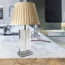 Contemporary 1 Bulb Reading Light Beige Wide Flare Small Desk Lamp with Fabric Shade