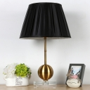 1 Bulb Bedside Table Light Modern Gold Small Desk Lamp with Conical Fabric Shade