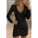 Stylish Glitter Plain Long Sleeve Surplice Neck Sequined Mini Tight Wrap Dress for Party Girls