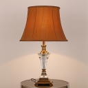 Contemporary Shaded Desk Light Fabric 1 Head Table Lamp in Brown for Dining Room