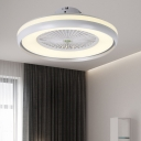 5 Blades Circle Acrylic Ceiling Fan Light Modernist LED Bedroom Semi Flush Mount Lamp Fixture in White/Black/Champagne, 23.5