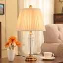 1 Head Bedroom Desk Light Modern Beige Nightstand Lamp with Pleated Fabric Shade