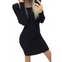 Elegant Ladies' Solid Color Long Sleeve Round Neck Knitted Short Sheath Work Dress