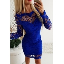 Hot Blue Long Sleeve Round Neck See-Through Lace Short Sheath Club Dress for Ladies