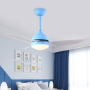 Onion Living Room Semi Flushmount Metallic LED Contemporary Ceiling Fan Lamp in White/Blue with 3 Blades, 42