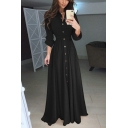 Fashion Women's Plain Roll-Up Sleeve Lapel Neck Button Down Maxi Pleated A-Line Shirt Dress