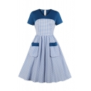 Girls' Cute Short Sleeve V-Neck Plaid Pattern Patched Pockets Long Pleated Swing Dress in Blue