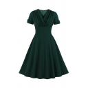 Classic Green Roll-Up Sleeve Surplice Neck Maxi Pleated Solid Color Swing Dress for Ladies