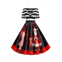 Christmas Fashion Girls Short Sleeve V-Neck Stripe Santa Claus Pattern Panel Ruched Long Pleated Flared Dress in Red