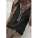Trendy Women's Short Sleeve V-Neck Glitter Striped Loose Fit T Shirt