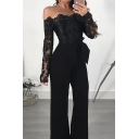 Sexy Black Long Sleeve Off the Shoulder Sheer Lace Long Straight Jumpsuit for Women
