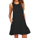 Elegant Solid Color Sleeveless Crew Neck Short A-Line Tank Dress for Women