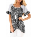 Pretty Leisure Short Sleeve Round Neck Ruffled Trim Leopard Printed Twist Hem Patchwork Relaxed Fit T-Shirt for Ladies