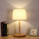 1 Bulb Study Task Light Modernism White Small Desk Lamp with Tapered Fabric Shade