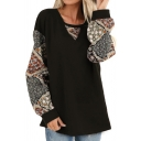 Cool Street Ladies Long Sleeve Round Neck Floral Printed Panel Relaxed Fit T-Shirt
