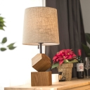 Flaxen Barrel Task Lighting Modernism 1 Head Fabric Small Desk Lamp with Wood Base