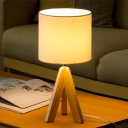 Fabric Cylindrical Table Light Modern 1 Bulb White Small Desk Lamp with Wood Tripod