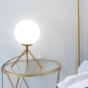 1 Bulb Bedside Desk Lamp Modern Black/Gold Reading Book Light with Ball White Glass Shade