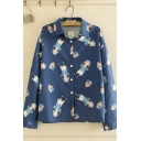 Casual Girls' Long Sleeve Lapel Collar Button Down All-Over Cartoon Girl House Print Loose Fit Shirt in Navy