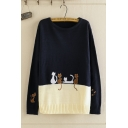 Korean Girls' Long Sleeve Round Neck Cat Printed Embroidery Colorblocked Knit Long Loose Sweater Top