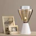 Modernist 1 Bulb Task Light White Wide Flare Night Table Lamp with Smoke Glass Shade