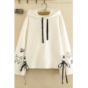 Chic Stylish Ladies' Long Sleeve Drawstring Lace Up Cat Printed Relaxed Fit Hoodie