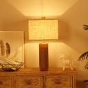 Modernist Rectangular Nightstand Lamp Fabric 1 Head Reading Book Light in Flaxen