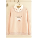 False Two-Piece Trendy Womens Long Sleeve Lapel Neck Fish Graphic Relaxed Fit Sweatshirt