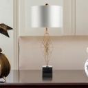 White Drum Task Lighting Modernist 1 Bulb Fabric Small Desk Lamp with Marble Base
