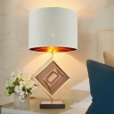Straight Sided Shade Desk Light Contemporary Fabric 1 Bulb Night Table Lamp in White