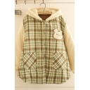 Girls Trendy Long Sleeeve Hooded Button Down Plaid Bear Embroidery Panel Teddy Oversize Coat
