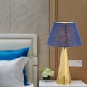 Wide Flare Nightstand Lamp Contemporary Fabric 1 Head Reading Book Light in Blue