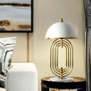 Oblong Metal Desk Lamp Modernism 1 Bulb Gold Table Light with Hemisphere White Shade