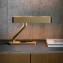 Contemporary LED Task Lighting Gold Oblong Reading Book Light with Metal Shade