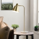 Trumpet Desk Light Modern Metal 1 Head Night Table Lamp in Gold with Rotating Node