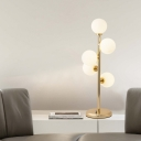Minimalism 5 Heads Desk Light Gold/Black Spherical Night Table Lamp with White Glass Shade
