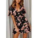 Gorgeous Ladies Short Sleeve Surplice Neck Bow Tie Waist All Over Floral Printed Short Pleated Wrap Dress