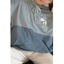 Leisure Girls Long Sleeve Drawstring Cartoon Bear Pattern Colorblocked Kangaroo Pocket Loose Hoodie in Blue
