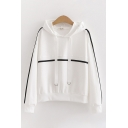 Chic Trendy Womens Long Sleeve Drawstring Contrast Piped Relaxed Fit Hoodie
