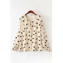Cute Girls Long Sleeve Peter Pan Collar Button Down All-Over Heart Patterned Loose Shirt