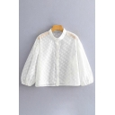 Womens Stylish Blouson Sleeve Stand Collar Button Down Polka Dot See-Through Mesh Loose Crop Blouse in White