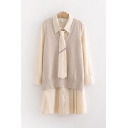 Casual Fashion Girls Long Sleeve Lapel Collar Tie Button Down Pleated Long Oversize Shirt with Knitted Tank Top