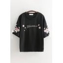 Causal Womens Short Sleeve Round Neck Bow Tie Letter BLOSSOM Floral Printed Embroidery Loose Fit Tee Top