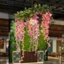 Pink 1 Bulb Drop Pendant Industrial Metal Floral LED Hanging Ceiling Light for Restaurant