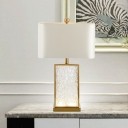 1 Bulb Bedside Table Lamp Nordic White Task Lighting with Rectangular Fabric Shade