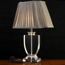 Fabric Flare Shade Desk Lamp Modern 1 Bulb Grey Table Light with Clear Crystal Base