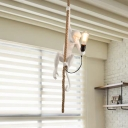 1 Light Monkey Hanging Light Fixture Antiqued White/Gold Resin Ceiling Pendant Lamp with Rope Cord
