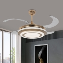 Metal Gold Hanging Fan Lamp Round Modernism Wall/Remote Control LED 4-Blade Semi Flush Lamp for Living Room, 42