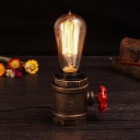 Bare Bulb Iron Table Light Vintage 1-Light Bedroom Small Desk Lamp in Rust with Valve Deco
